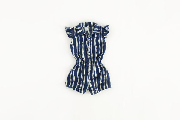 1-6Y Girls Blue Stripes Jumpsuit A2015A