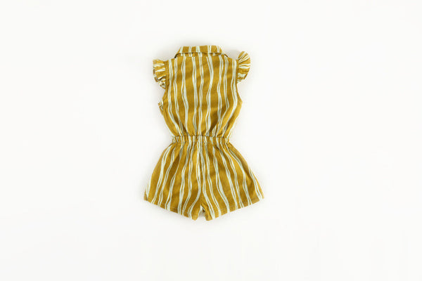 1-6Y Girls Mustard Yellow Stripes Jumpsuit A2015B