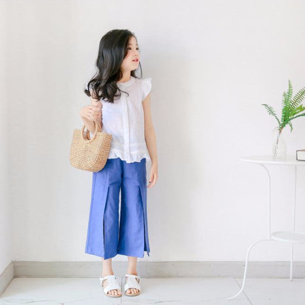 3-15Y Girls White Shirt A202H / Blue Pants A2044H