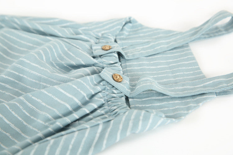 1-6Y Kids Blue Stripes Jumpsuit A4053C
