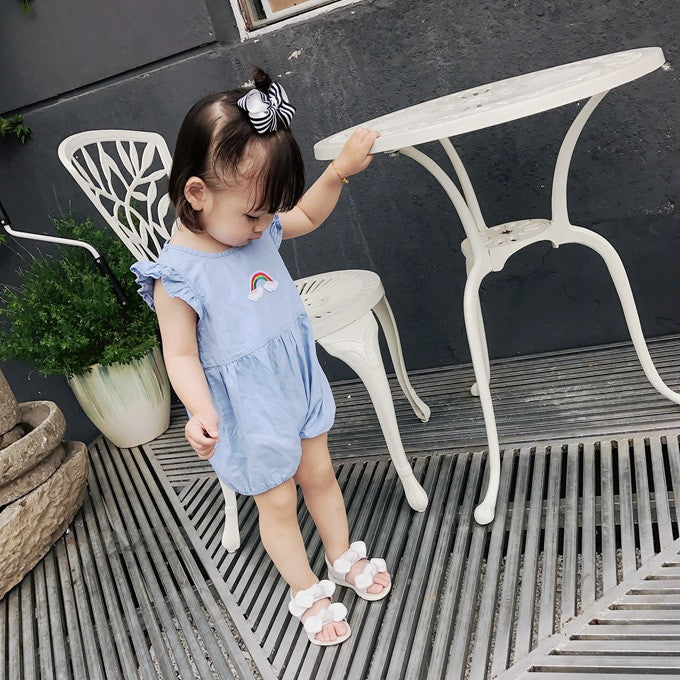 1-4Y Kids Blue Rainbow Romper K4020G