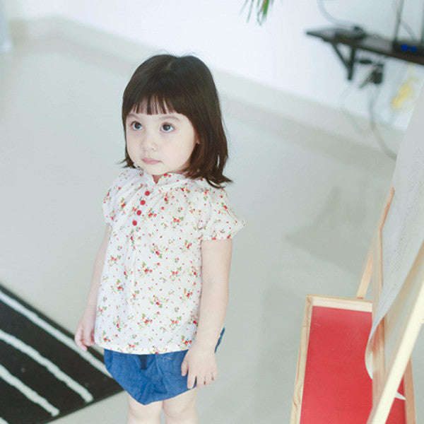 0-4Y Girls Beige Floral Top A2023G