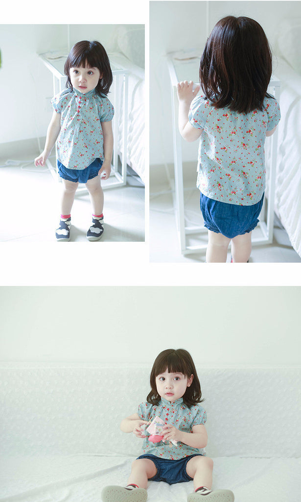 0-4Y Girls Blue Floral Top A2023H