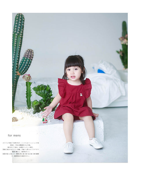 1-5Y Girls 2-ways Dark Red Dress and Bloomer 2pcs Set G230O