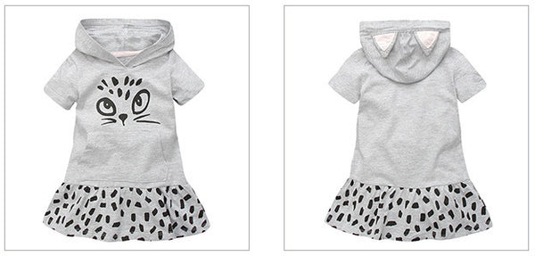 2-7Y Girls Little Maven Grey Kitty Dress A2014I