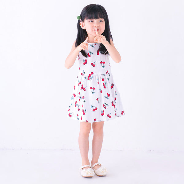 2-7Y White Cherry Dress A2017B
