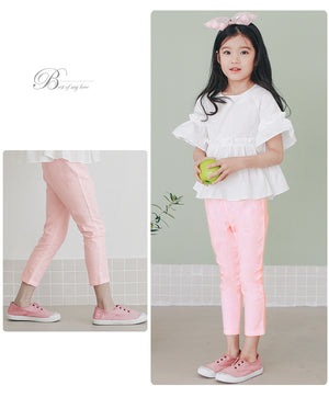 3-15Y Girls Pink Cropped Pants A2044F