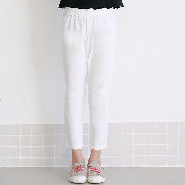 3-15Y Girls White Cropped Pants A2044G