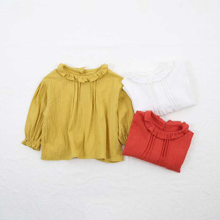 1-8Y Girls Red Ruffles Sleeves Blouse A2021K