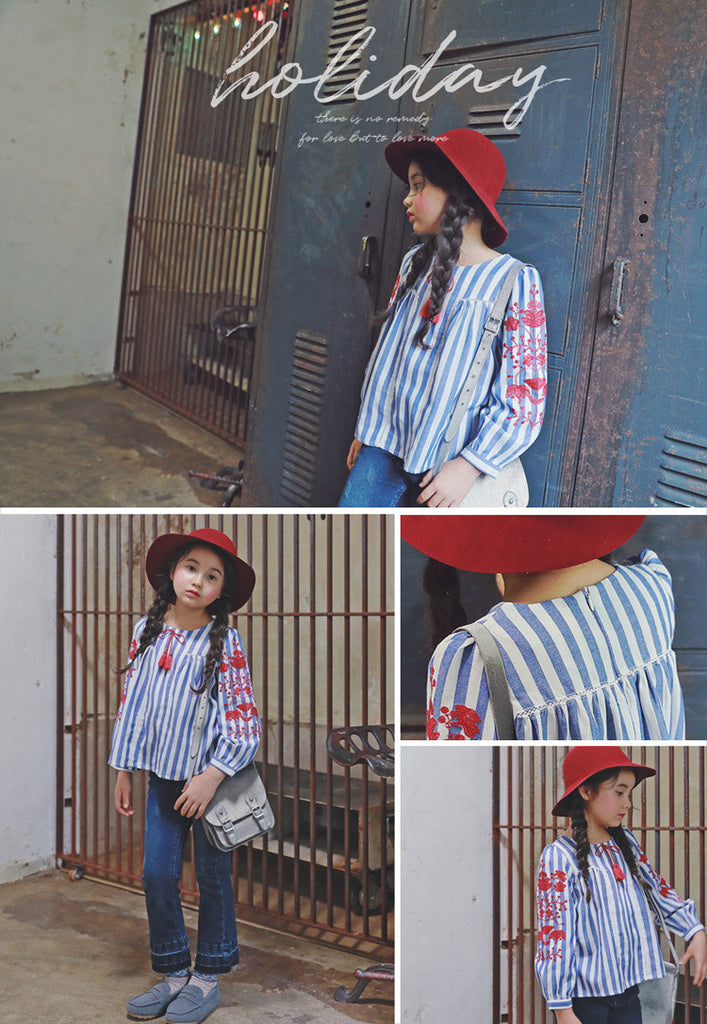 3-15Y Girls Blue Stripes Embroidery Shirt G211D (Mother size available)