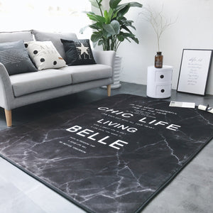Black Marble Floor Mat Rug Carpet H702B