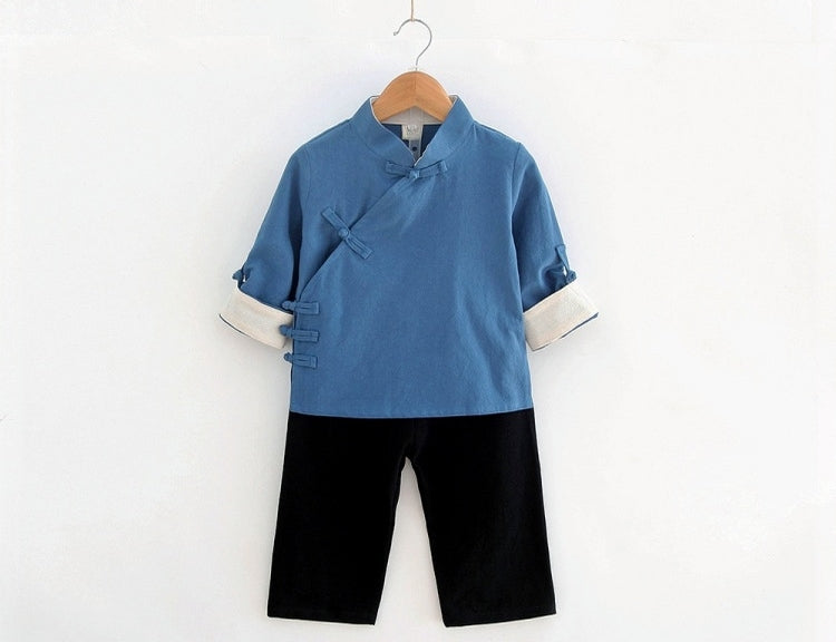 1-8Y Boys Kungfu Top and Bottom 2pcs Set A100C41H