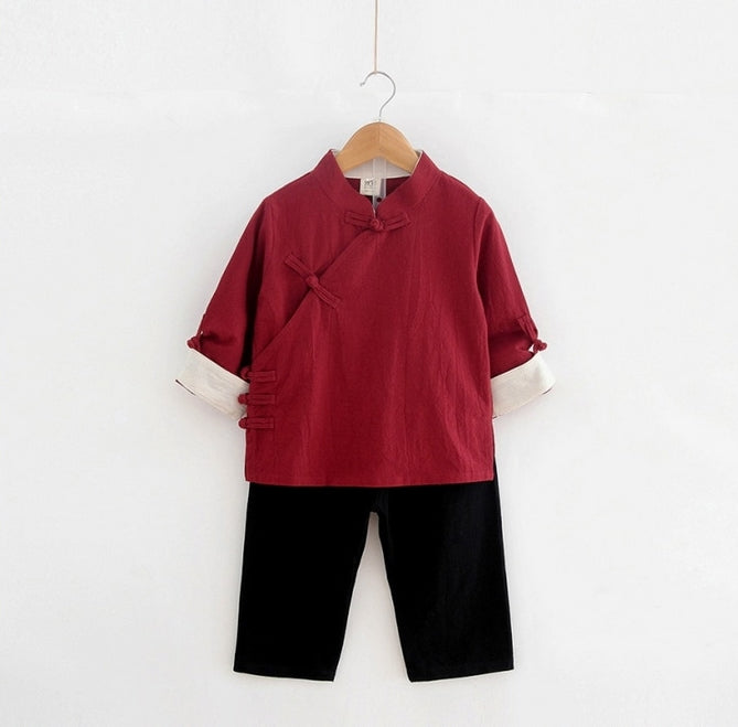 1-8Y Boys Kungfu Top and Bottom 2pcs Set A100C41G
