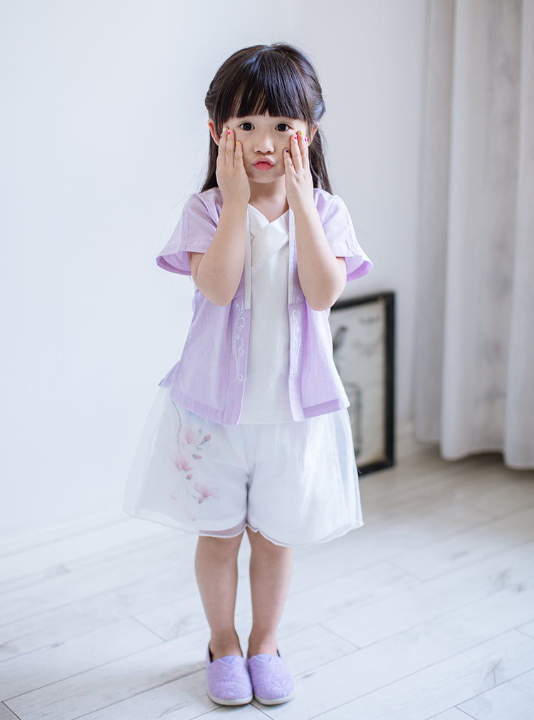 1-10Y Girls Chiffon Double Layers Chinese Shorts A200C31G