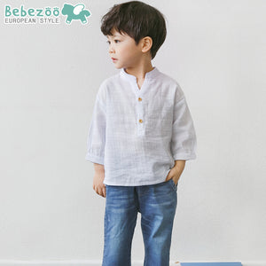 1-5Y Bebezoo Boys Shirts with Puppy Embroidery K10112A