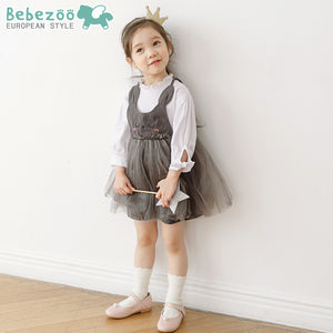 2-5Y Bebezoo Girls Grey Kitty Dress with White Shirt K2016J