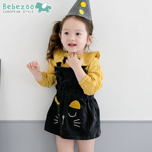 1-4Y Bebezoo Black Kitten Dress K2016I / Yellow Checker Top K2011N