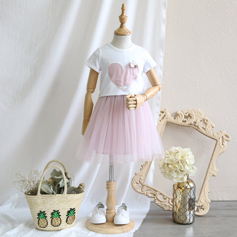 2-8Y Kids Top and Tulle Skirt 2pcs Set G20124I