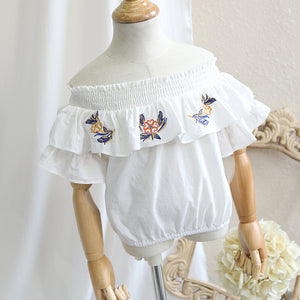 2-10Y Girls Off-Shoulder Embroidery Flutter Blouse A20213D (Mother sizes available)