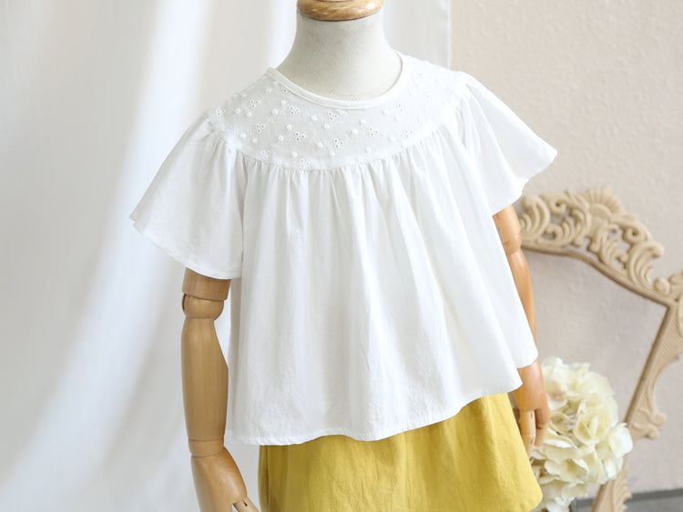 2-8Y Kids Embroidery Ruffle Top A20215C