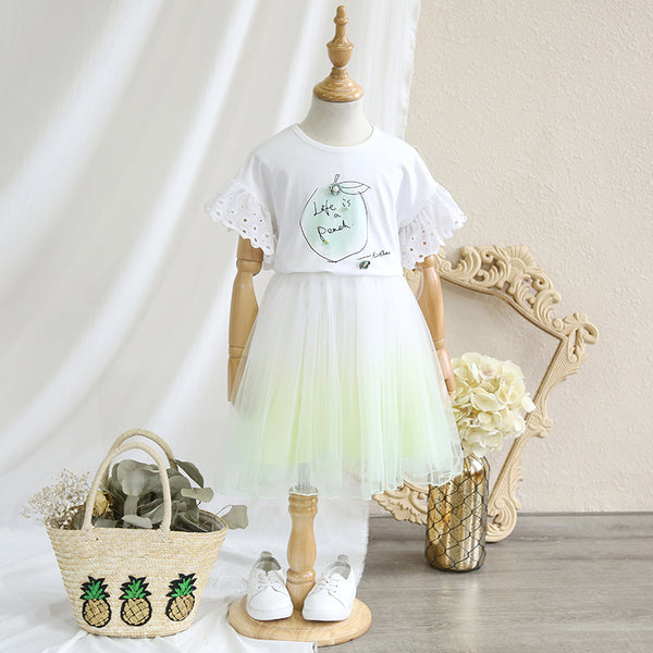 2-8Y Kids Top and Tulle Skirt 2pcs Set G20124L