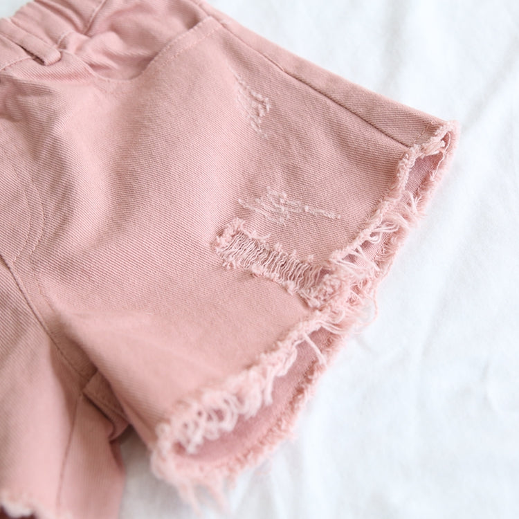2-8Y Kids Pink Denim Shorts A20411K