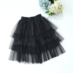 2-8Y Girls Black Layers Long Skirts A20412G