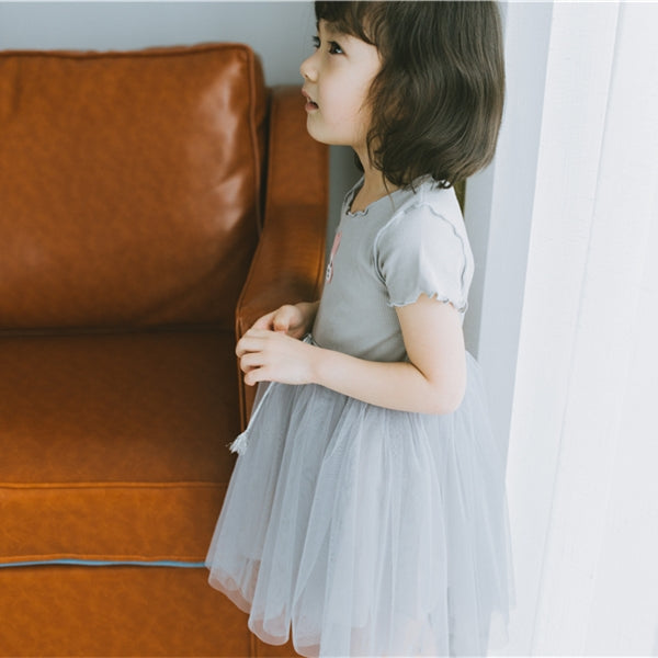 2-7Y Girls Grey Bunny Tulle Dress A20124C