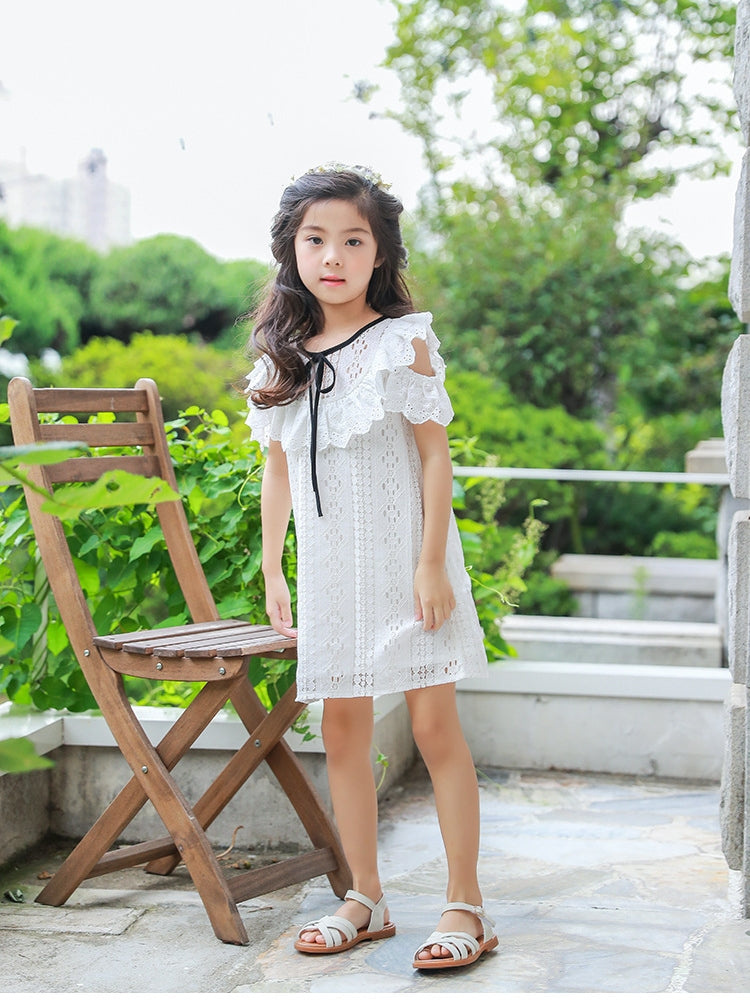 3-12Y Girls White Lace Dress G2102D (Mother sizes available)