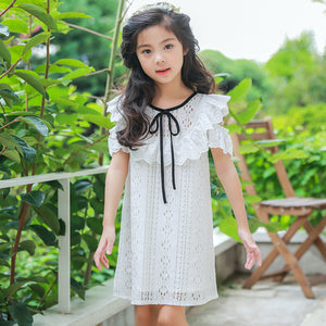 3-12Y Girls White Lace Dress G2102D