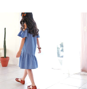 3-15Y Girls Blue Off-Shoulder Dress G2101I