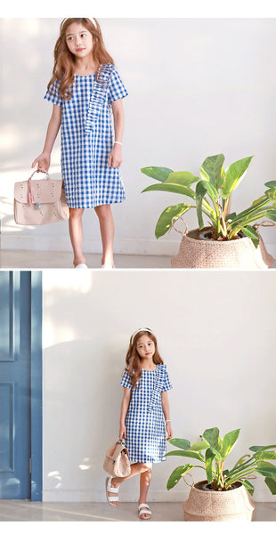 3-15Y Girls Blue Checker Dress G2101L (Mother size available)