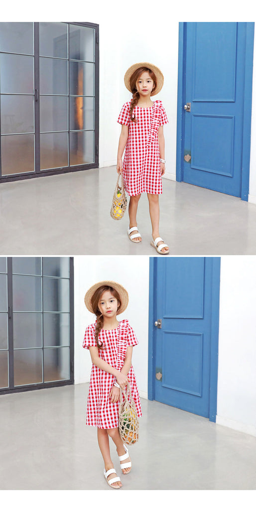 3-15Y Girls Red Checker Dress G2101K (Mother size available)
