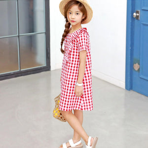 3-15Y Girls Red Checker Dress G2101K