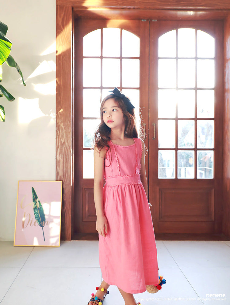 3-15Y Girls Pink Long Dress G2103D (Mother size available)