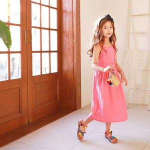 3-15Y Girls Pink Long Dress G2103D