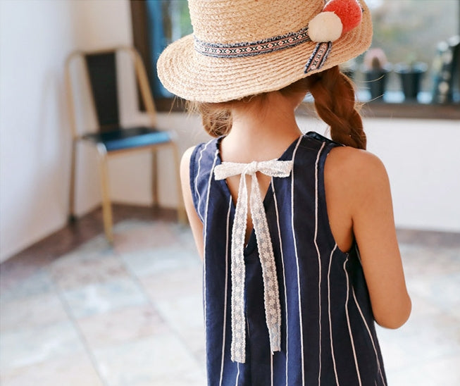 3-15Y Girls Blue Stripes Formal Dress G2103A (Mother size available)