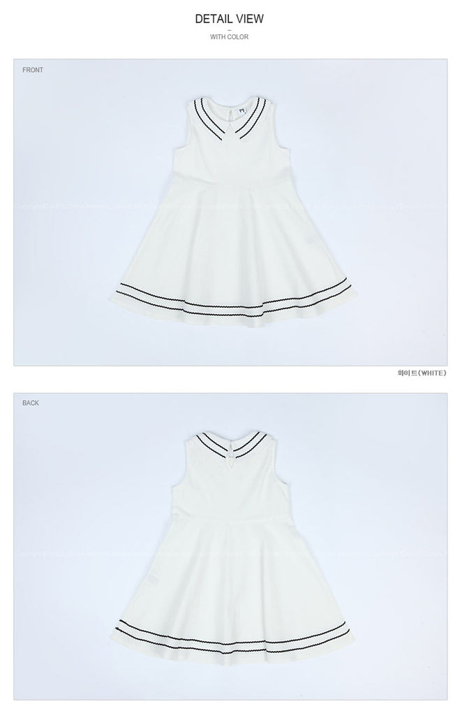 3-15Y Girls White Flare Dress G2103B (Mother size available)
