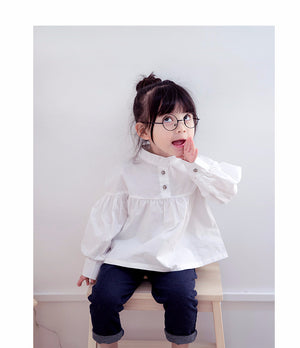 2-8Y Girls White Button Blouse G212E
