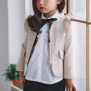 3-7Y Girls Ruffles Beige Jacket A2081F