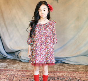 2-7Y Girls Red Floral Dress with Inner Tulle G2201A