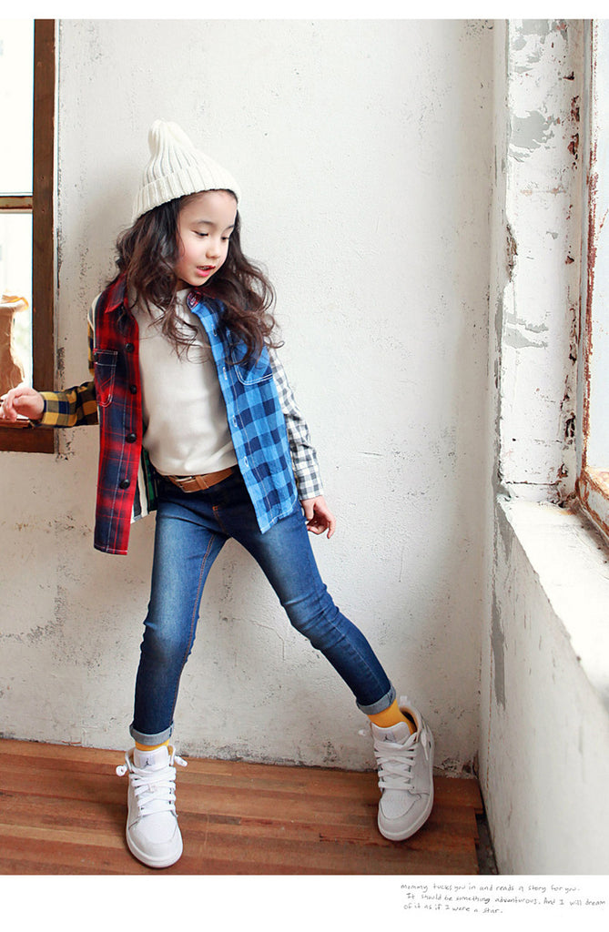 3-15Y Girls Dark Blue Denim Jeans A2045C (Mother size available)