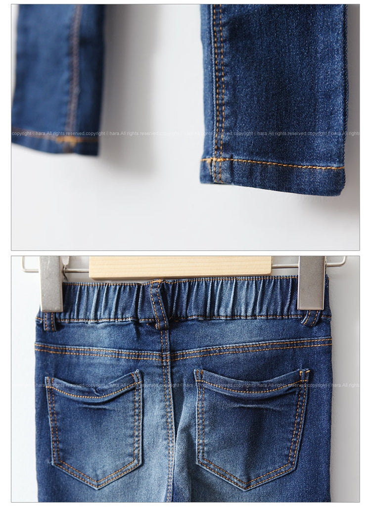 3-15Y Girls Dark Blue Denim Jeans A2045C