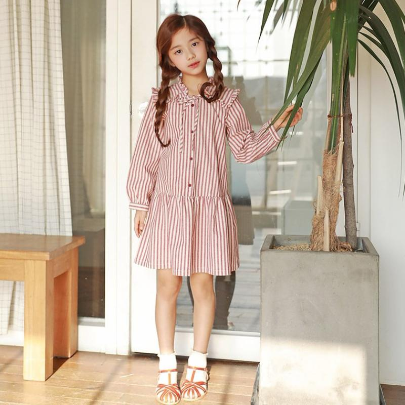 3-15Y Girls Red Stripes Collar Dress G2103G (Mother size available)