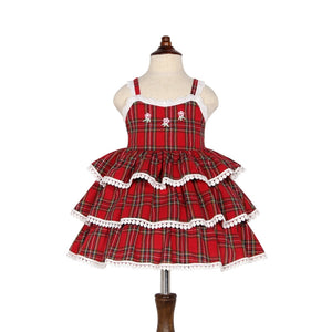 1-6Y Girls Red Checker Embroidery Dress Layers Dress G20125B
