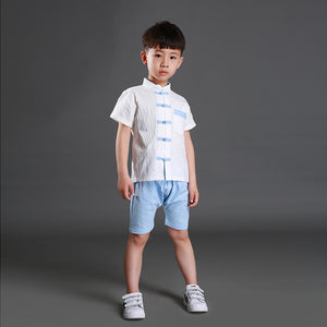 2-8Y Boys Kids Mandarin Top and Bottom 2pcs Set A100C42K