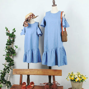 3-15Y Girls Blue Off-Shoulder Dress G2101I (Mother size available)