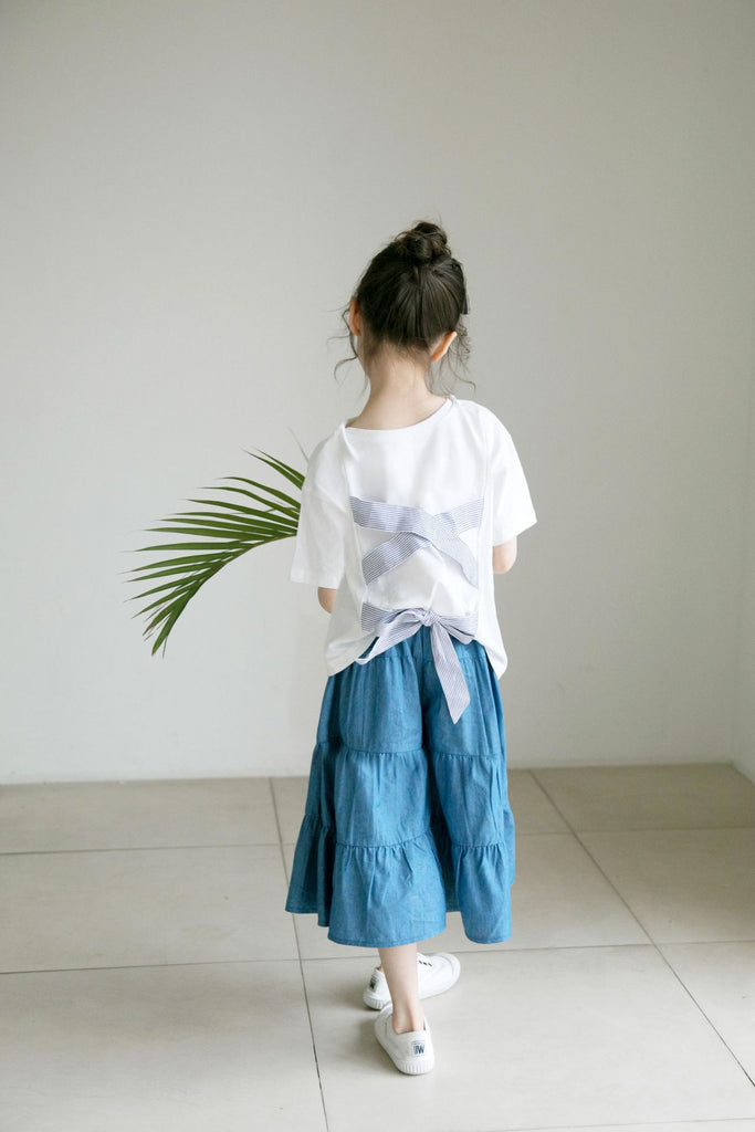 3-15Y Girls White Top G21035C / Denim Pants G21035D (Mother sizes available)