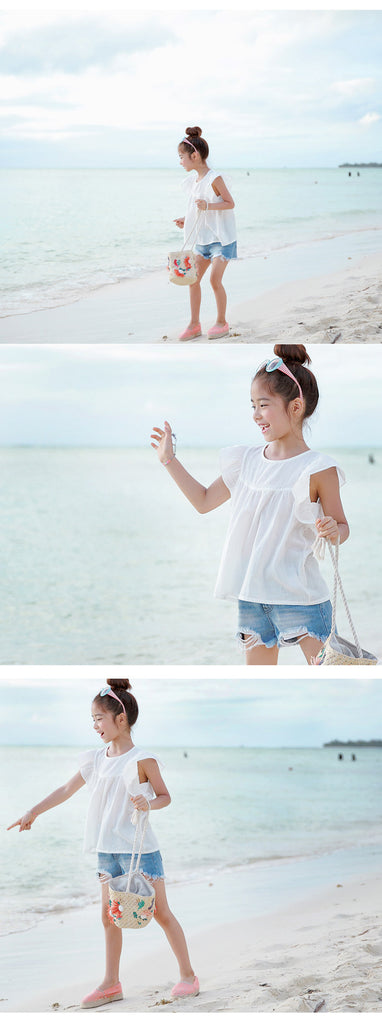 3-15Y Girls White Blouse G21041L