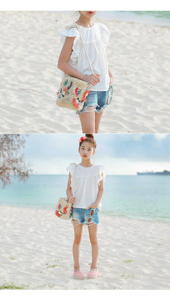 3-15Y Girls White Blouse G21041L (Mother size available)